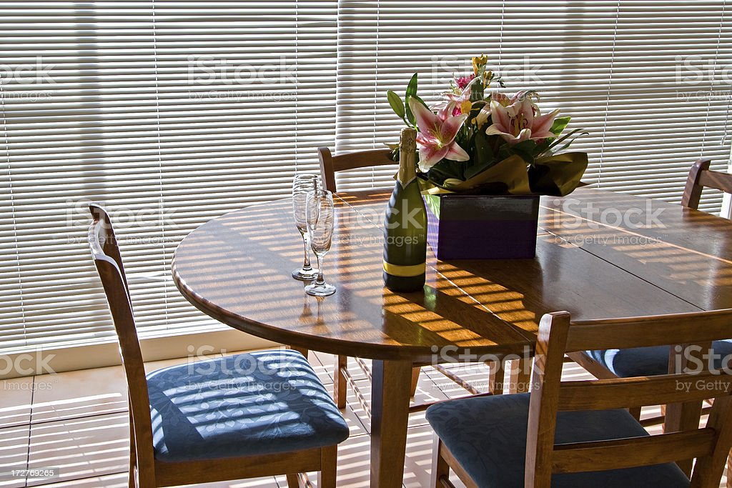 Dining Table in the morning sunlight royalty-free stock photo