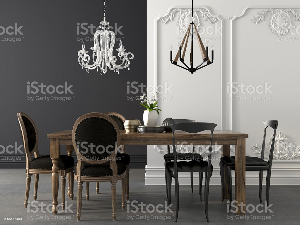 Dining table in two styles stock photo