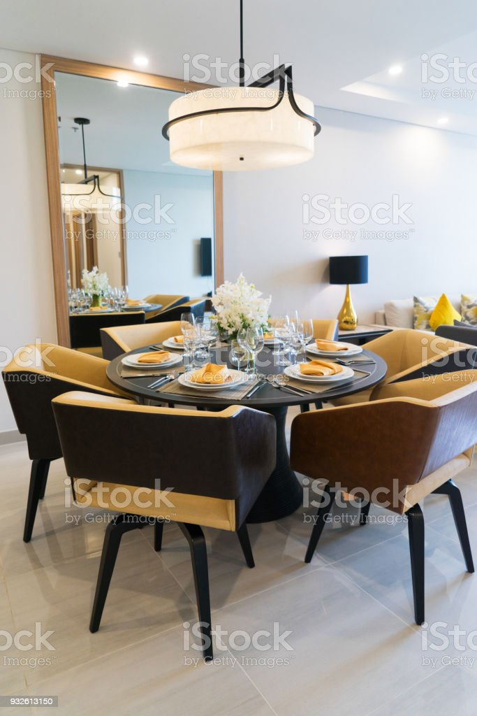 Dining table setting for dinner party at home. Cozy comfortable...