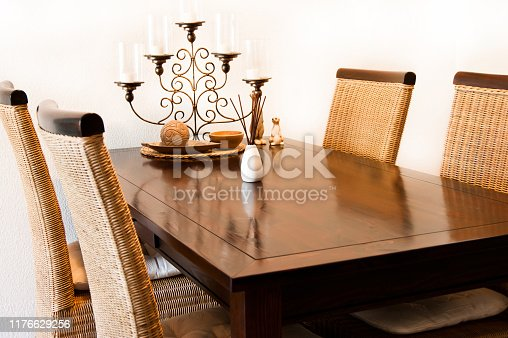 Dining table with chairs and decoration
