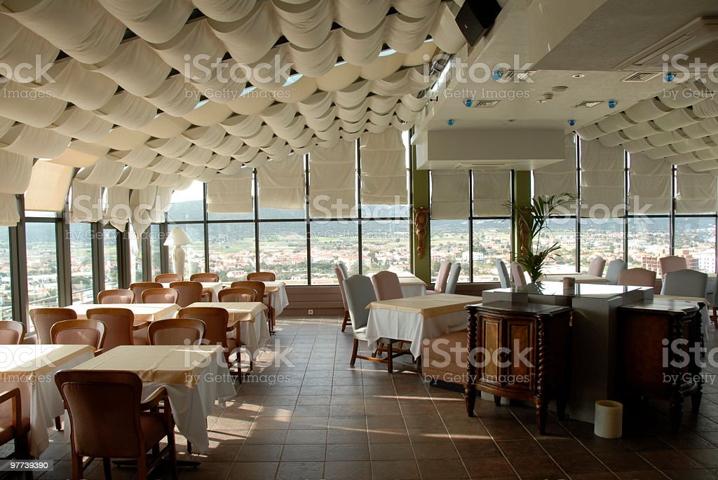 Dining tables and chairs in restaurant, Turkey royalty-free stock photo