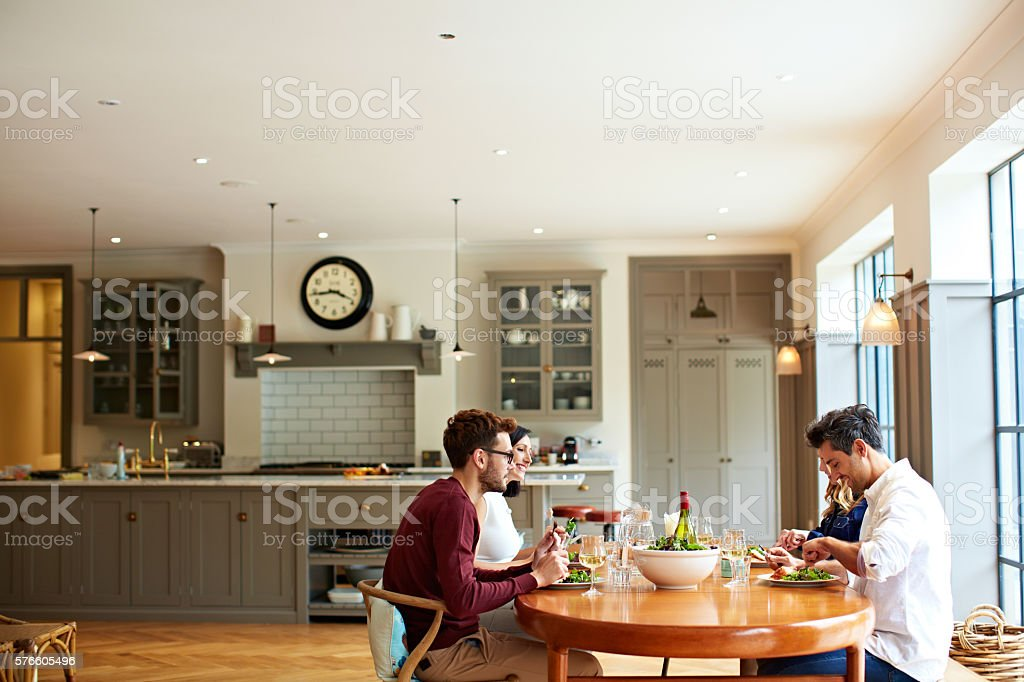 Dining with good friends stock photo