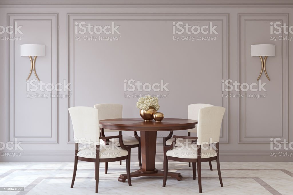 Dining-room interior. 3d render. stock photo