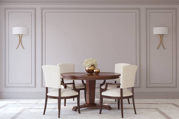 Dining-room interior. 3d render. stock photo