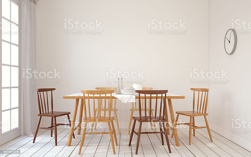 Dining-room interior.3d render. stock photo