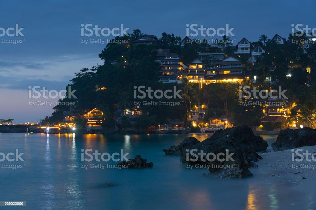 Dinivid Beach at night, Boracay, Philippines stock photo