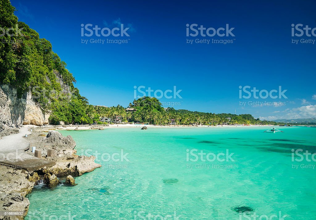 diniwid beach on boracay tropical island philippines stock photo