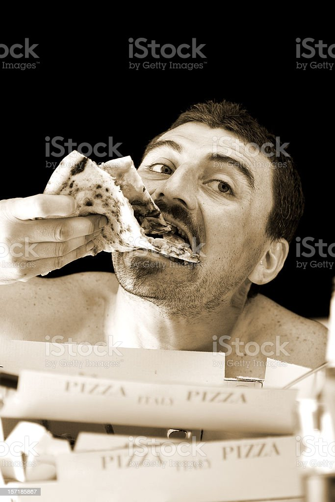 dinner & TV [colorized] royalty-free stock photo