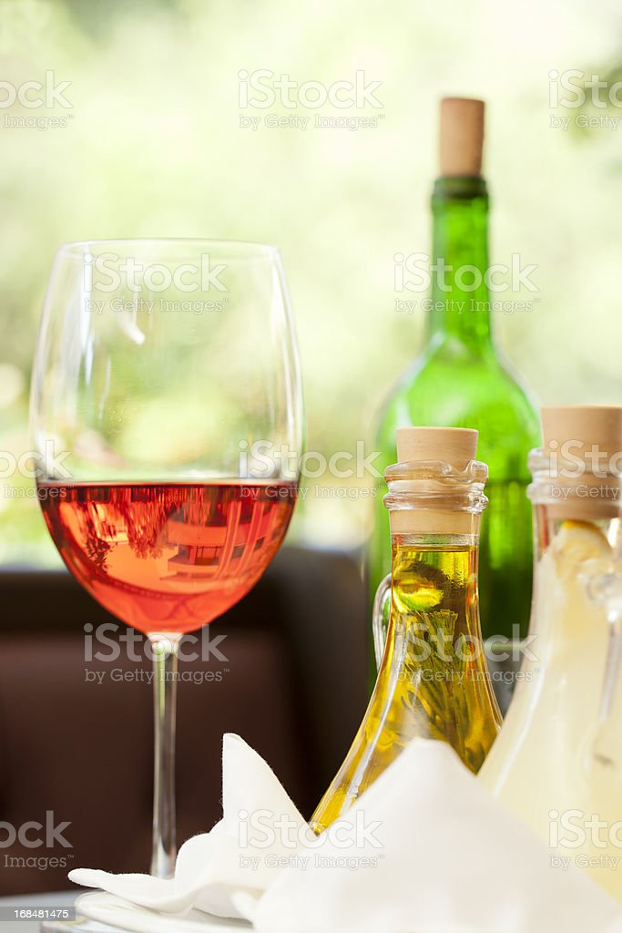 Dinner and wine - olive oil royalty-free stock photo