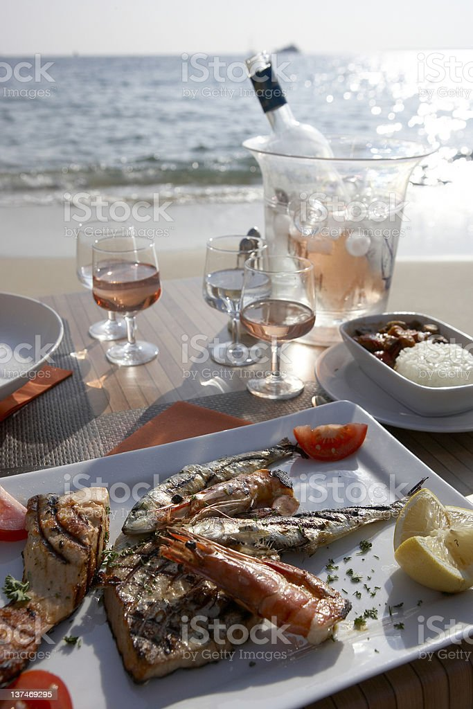 Dinner by the Sea stock photo