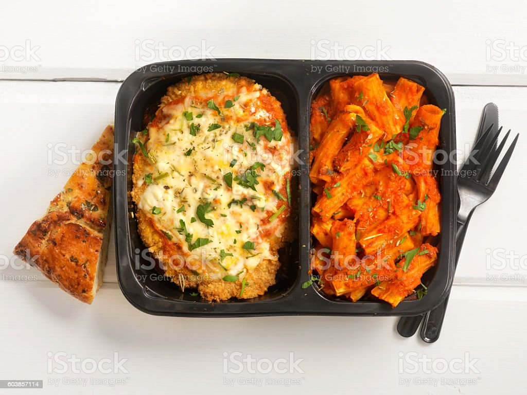 TV Dinner ,Chicken Parmesan with Rigatoni Chicken Parmesan with Pasta and Mozzarella Cheese- Photographed on a Hasselblad H3D11-39 megapixel Camera System Baked Stock Photo