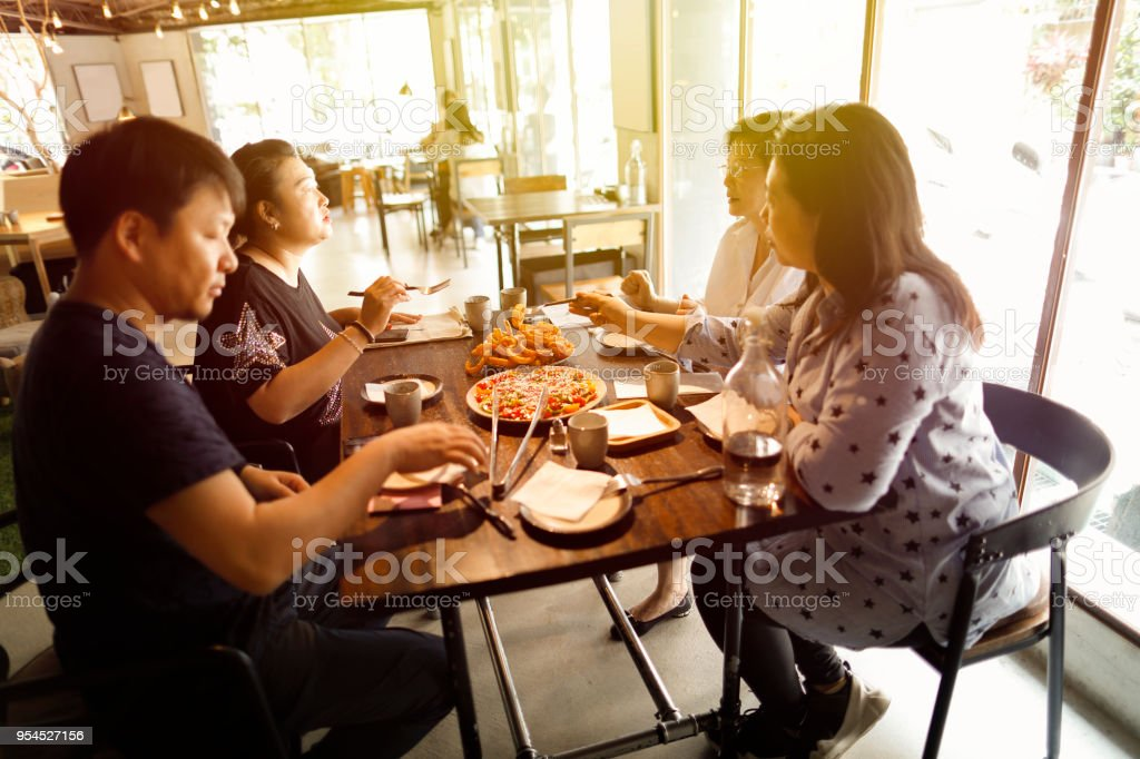 Dinner conversation stock photo
