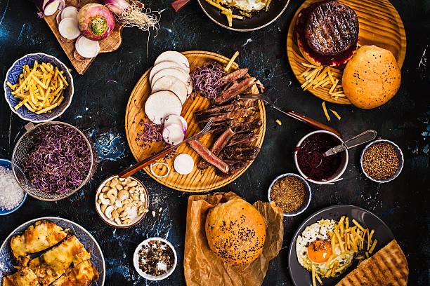 Dinner food table. stock photo
