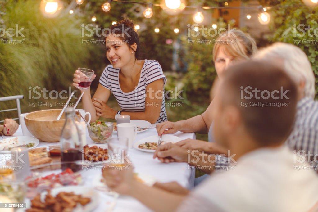 Dinner for my family stock photo