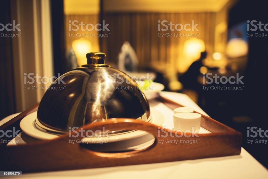 Dinner Hotel Room Service stock photo