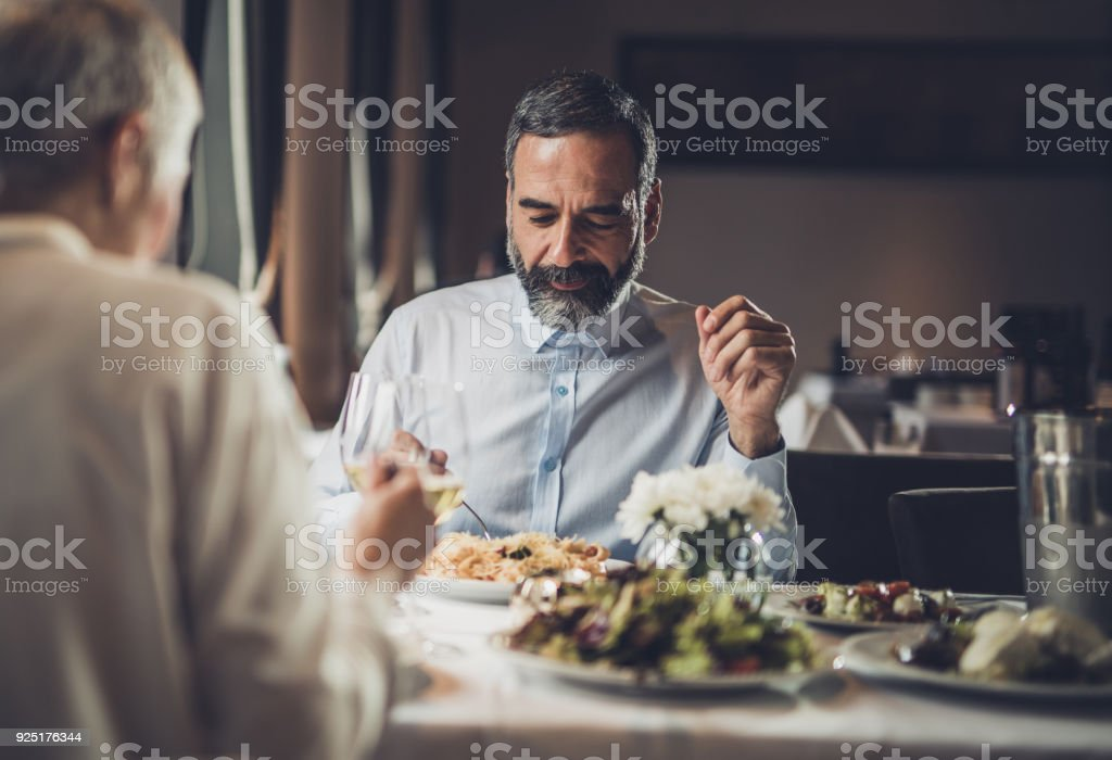 Dinner in a restaurant! stock photo