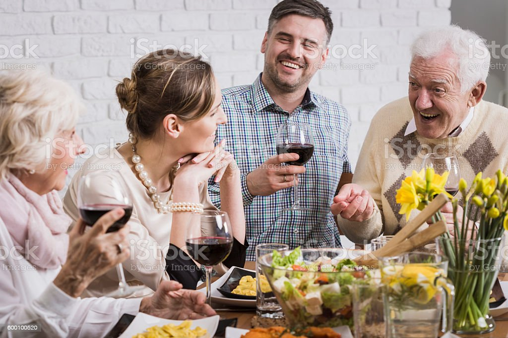 Dinner is better with family stock photo