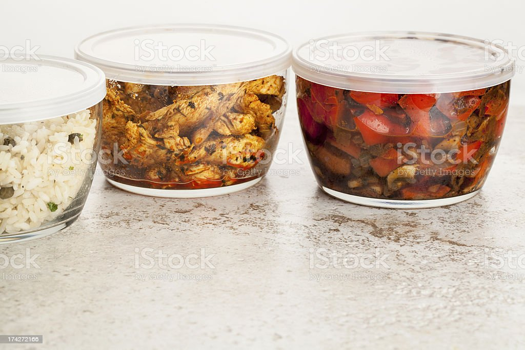 dinner meal in glass containers stock photo