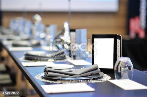 istock Dinner menu on round table meeting 474835872