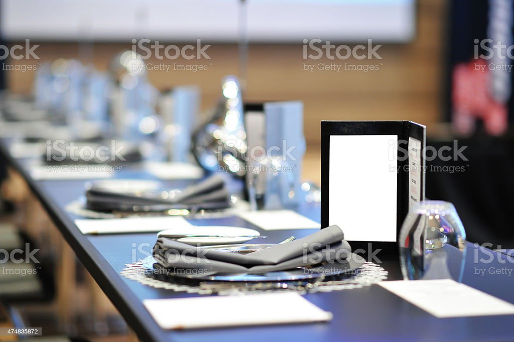 Dinner menu on round table meeting stock photo