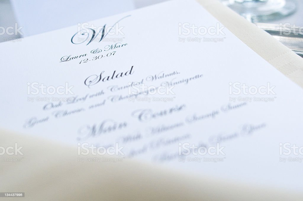 Dinner Menu Printed for a Wedding royalty-free stock photo