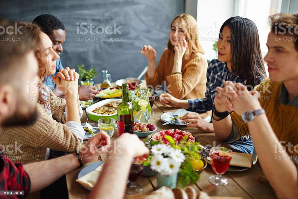 Dinner of friends stock photo