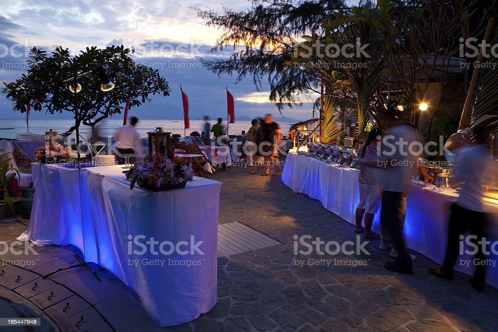 dinner on sunset stock photo