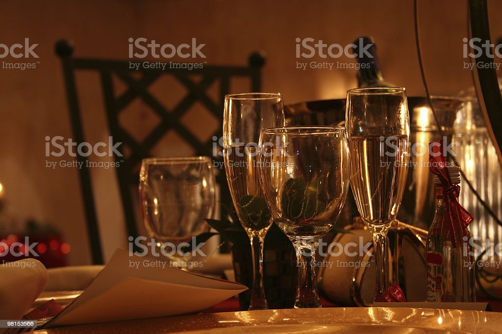 Cena con invitati foto stock royalty-free