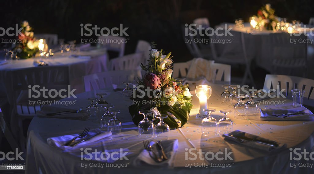 Dinner party table stock photo