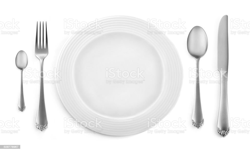 Dinner place setting stock photo