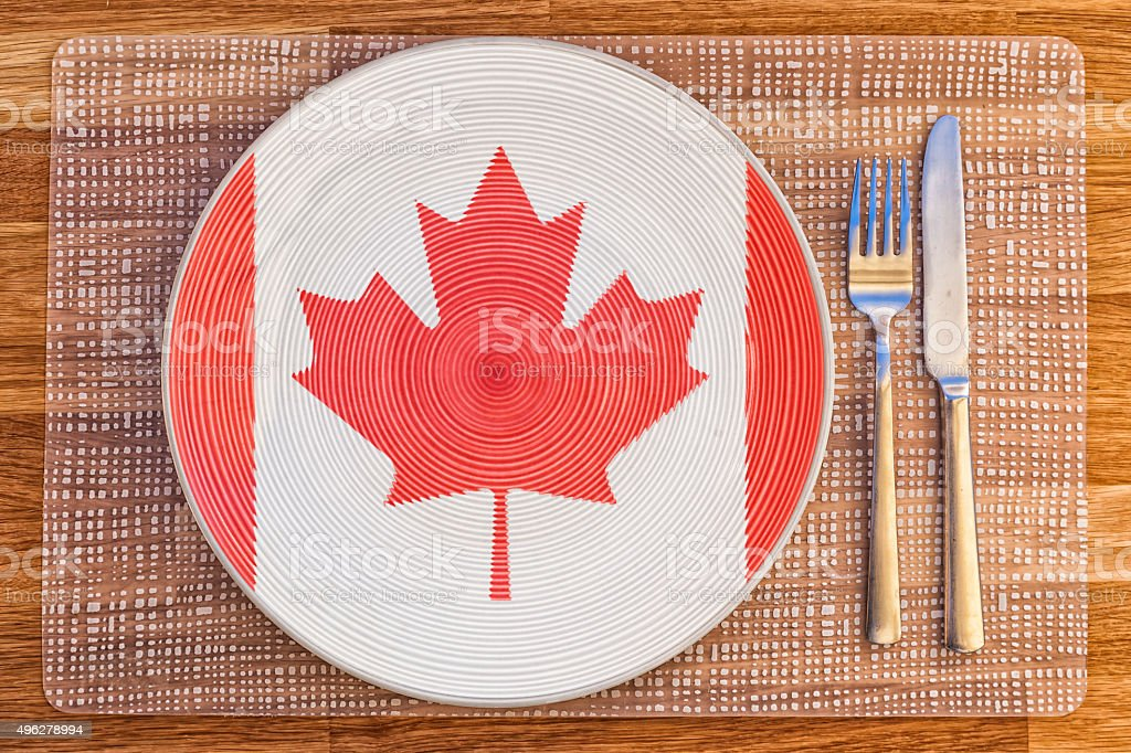 Dinner plate for Canada stock photo