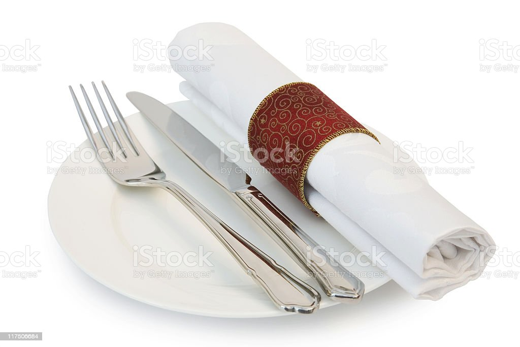 Dinner plate knife and fork stock photo