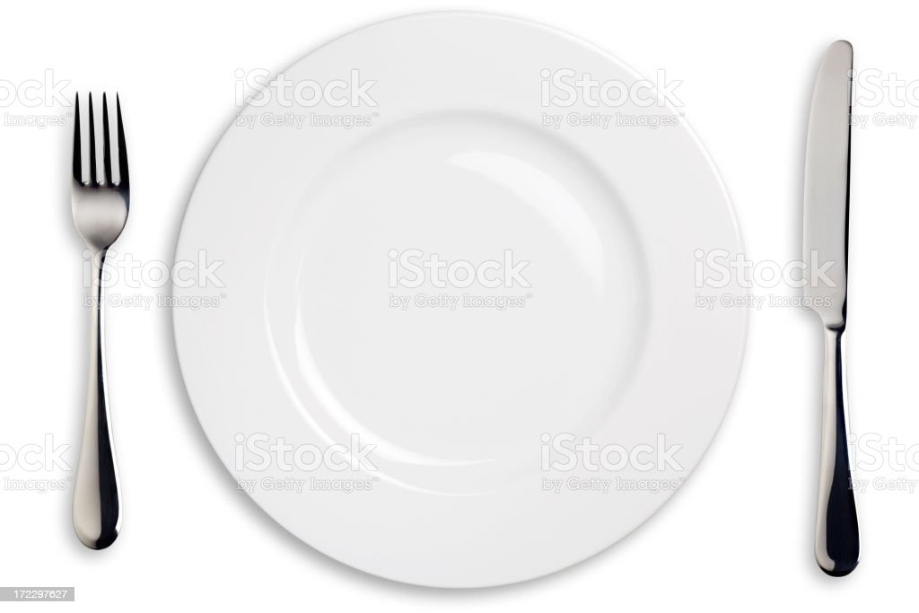 Dinner Plate, Knife, and Fork stock photo
