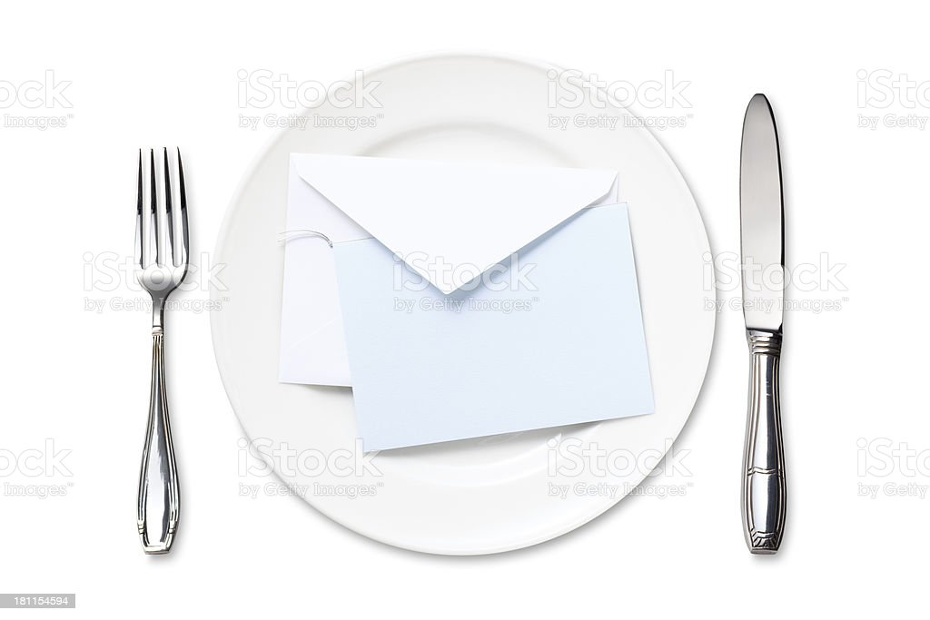 Dinner Plate with Blank Card royalty-free stock photo