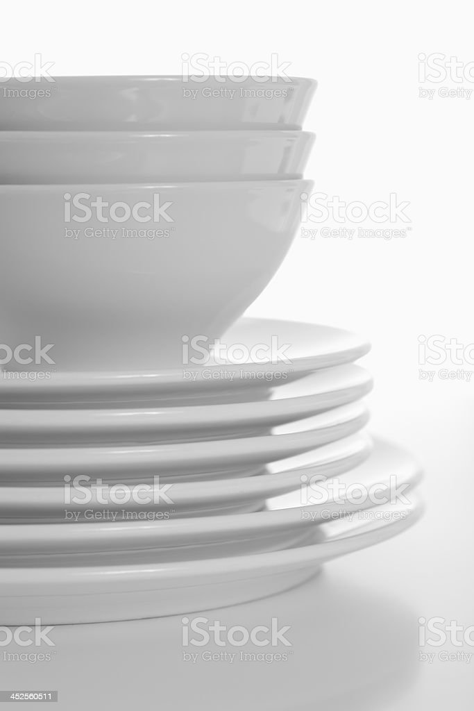dinner plates and bowls stock photo
