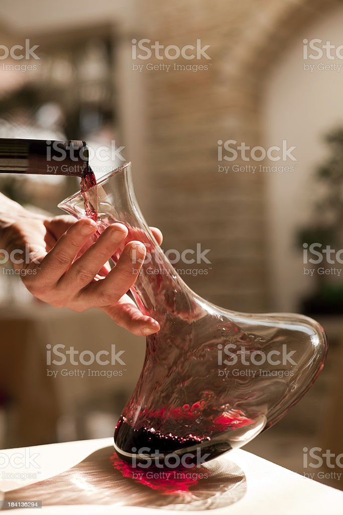 Dinner, Pouring the Wine royalty-free stock photo