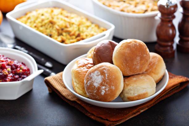 Dinner rolls for Thanksgiving stock photo