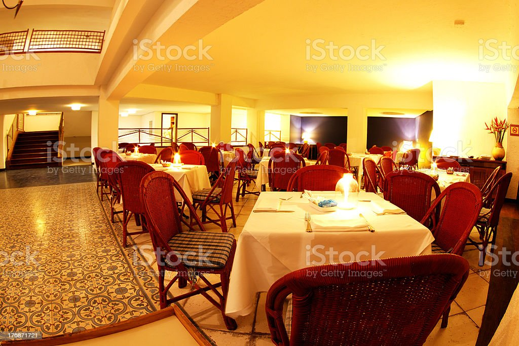 Dinner room into Arraial d'Ajuda Eco Resort royalty-free stock photo