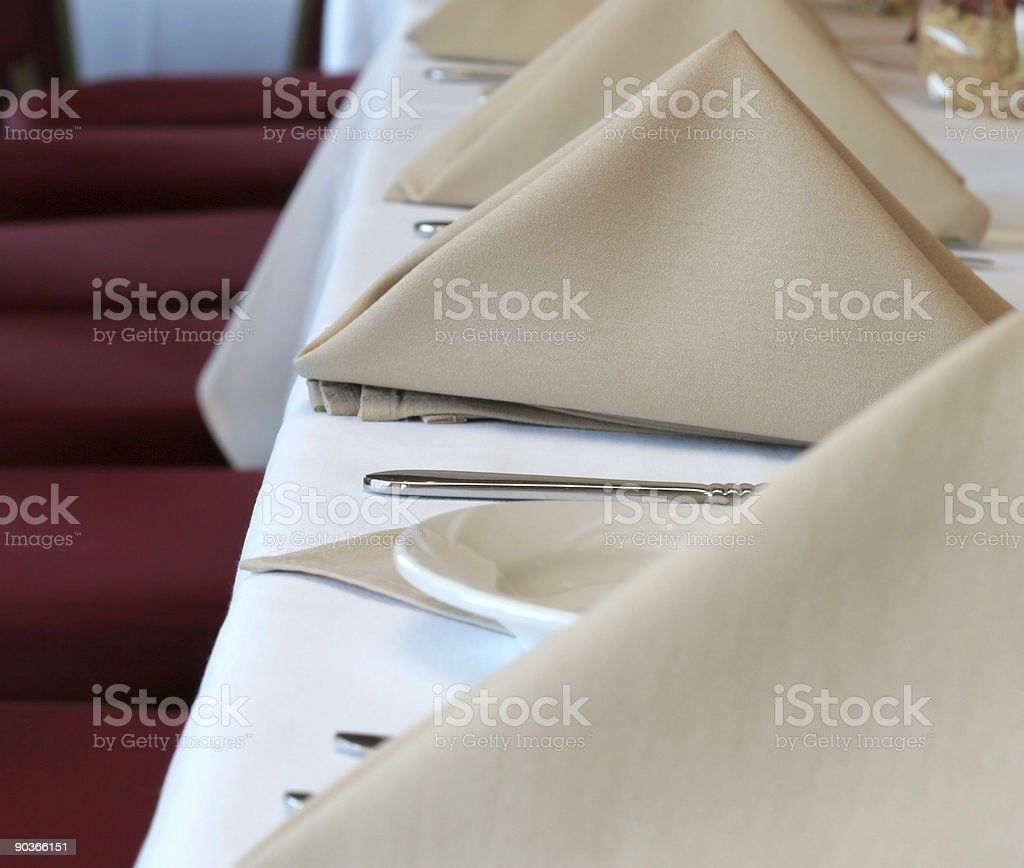 Dinner service at the restarunt table stock photo