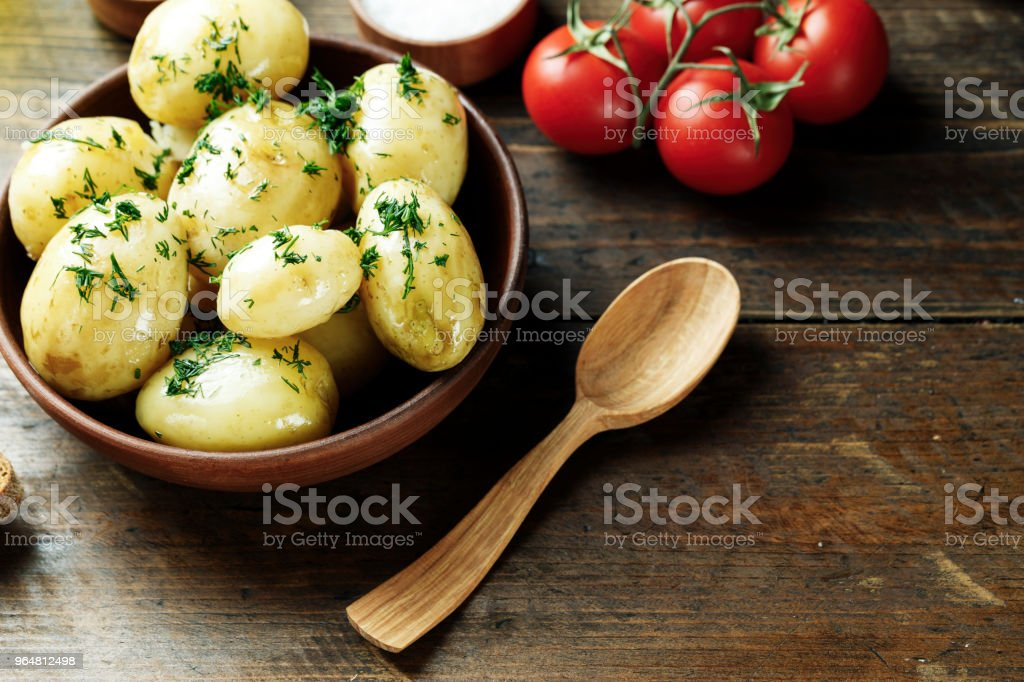 Dinner set with potatoes, summer vegetables, with young onions and tomatoes. royalty-free stock photo