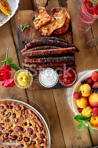 657146780 istock photo Dinner table appetizers variety serving on party outdoor table at home. 1253090362