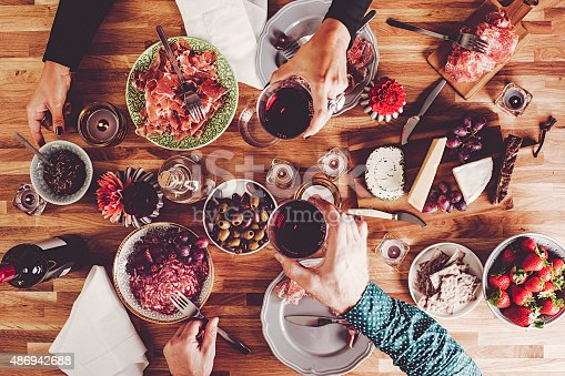 istock Dinner table overhead top view 486942688