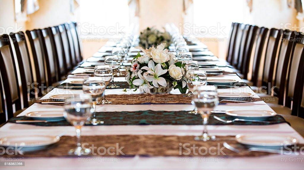 Marvelous Dinner Table   Wineglass Stock Photo