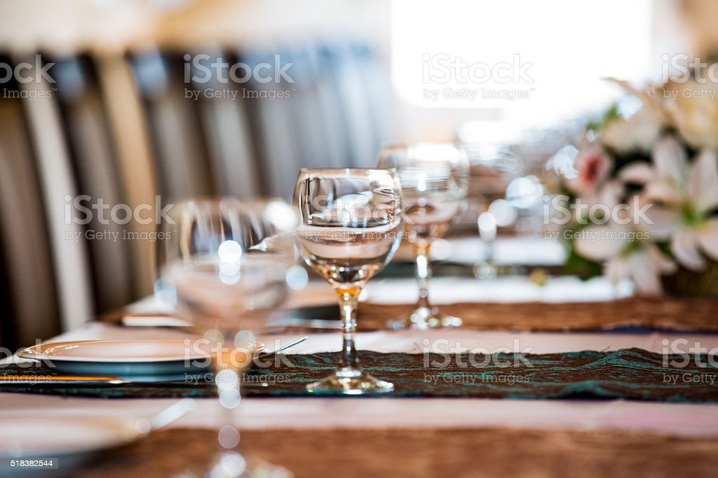Dinner Table - Wineglass stock photo