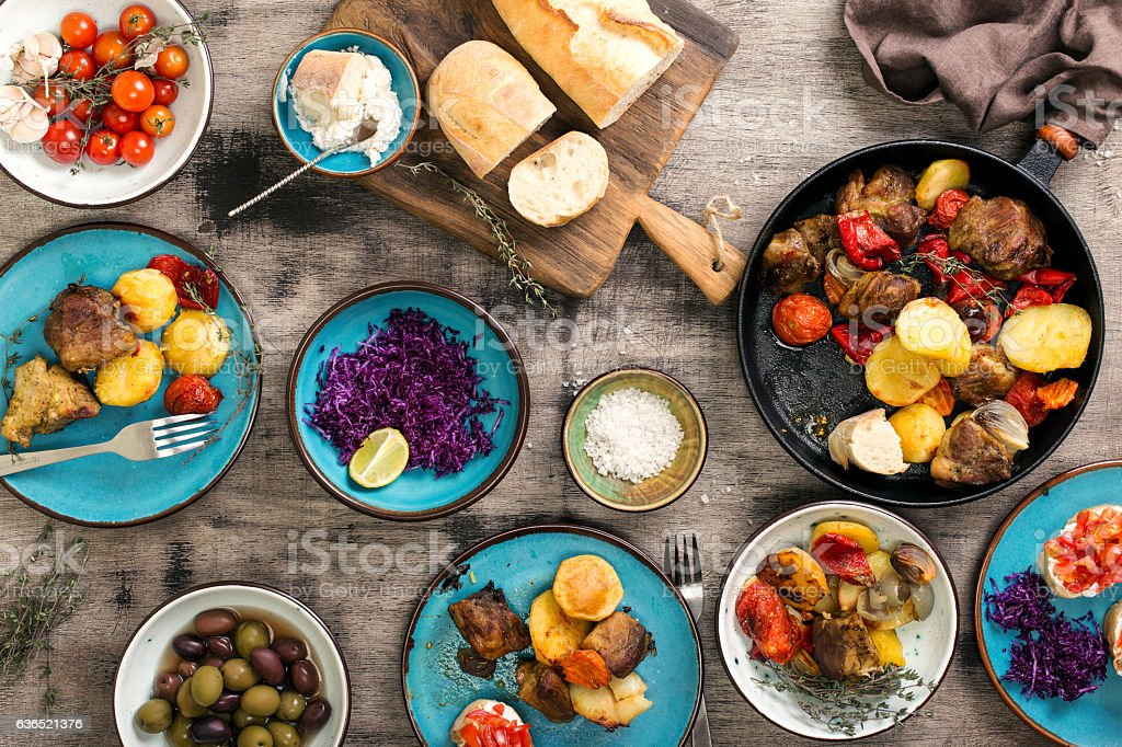 Dinner table with variety food, top view stock photo