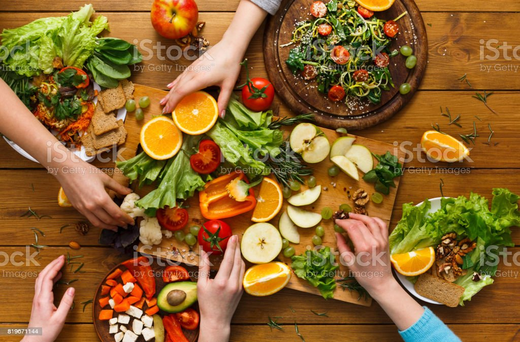 Dinner Table Women Eat Healthy Food At Home Kitchen Stock Photo Download Image Now Istock