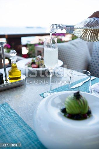 Dinner tables near the sea