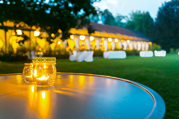 dinner wedding reception outdoor stock photo