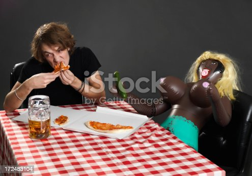 dinner with doll.split a pizza with his mistress plastic