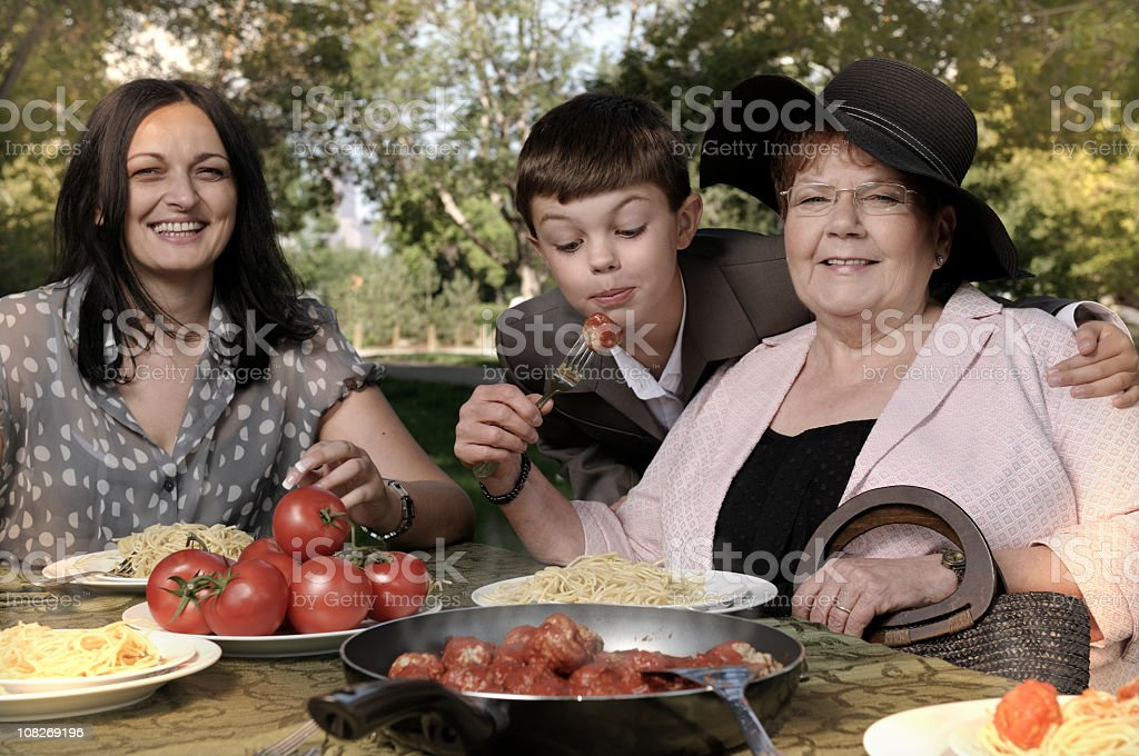 Dinner with grandma royalty-free stock photo